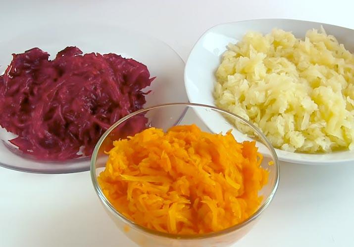 натертые овощи для селедки под шубой классической