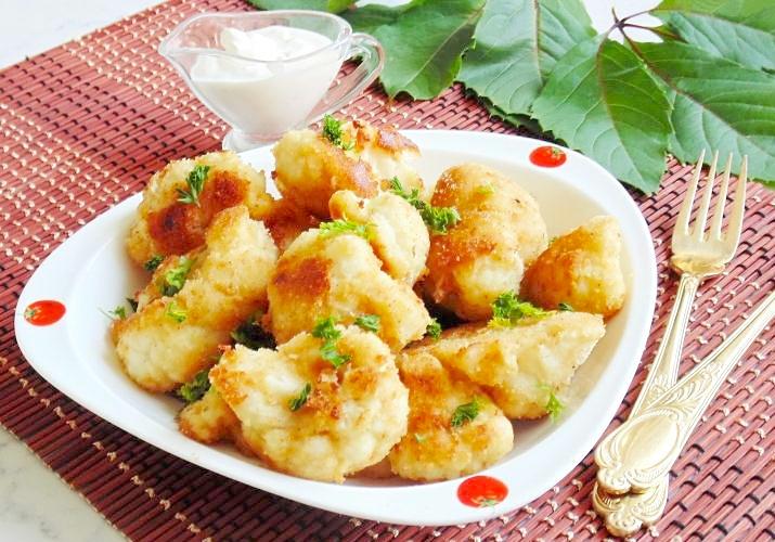 Рецепт цветной капусты в кляре и сухарях на сковороде